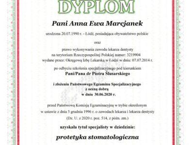 Anna Marcjanek certyfikat protetyka - <span>lek. dent. Anna Marcjanek</span><br/>specjalizacja w dziedzinie protetyki stomatologicznej