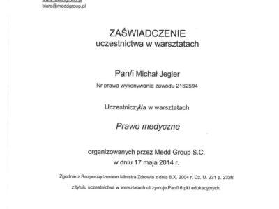 Dr Jegier certyfikat 1 - <span>dr n. med. Michał Jegier</span><br/>