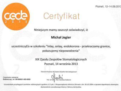 Dr Jegier certyfikat 11 - <span>dr n. med. Michał Jegier</span><br/>