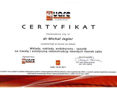 Dr Jegier certyfikat 13 - <span>dr n. med. Michał Jegier</span><br/>