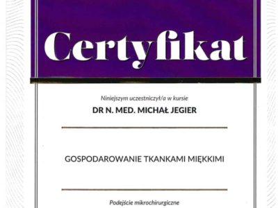 Dr Jegier certyfikat 3 - <span>dr n. med. Michał Jegier</span><br/>