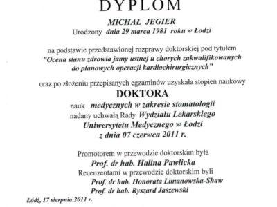 Dr Jegier certyfikat 8 - <span>dr n. med. Michał Jegier</span><br/>