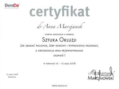 Dr Marcjanek certyfikat 10 - <span>lek. dent. Anna Marcjanek</span><br/>specjalizacja w dziedzinie protetyki stomatologicznej
