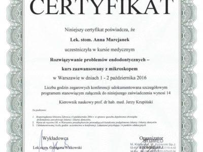 Dr Marcjanek certyfikat 11 - <span>lek. dent. Anna Marcjanek</span><br/>specjalizacja w dziedzinie protetyki stomatologicznej