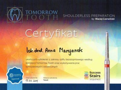 Dr Marcjanek certyfikat 12 - <span>lek. dent. Anna Marcjanek</span><br/>specjalizacja w dziedzinie protetyki stomatologicznej