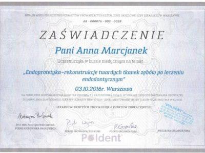 Dr Marcjanek certyfikat 13 - <span>lek. dent. Anna Marcjanek</span><br/>specjalizacja w dziedzinie protetyki stomatologicznej