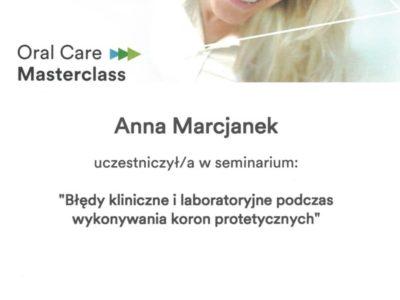 Dr Marcjanek certyfikat 14 - <span>lek. dent. Anna Marcjanek</span><br/>specjalizacja w dziedzinie protetyki stomatologicznej