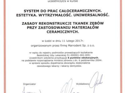Dr Marcjanek certyfikat 15 - <span>lek. dent. Anna Marcjanek</span><br/>specjalizacja w dziedzinie protetyki stomatologicznej