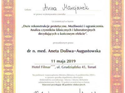 Dr Marcjanek certyfikat 16 - <span>lek. dent. Anna Marcjanek</span><br/>specjalizacja w dziedzinie protetyki stomatologicznej