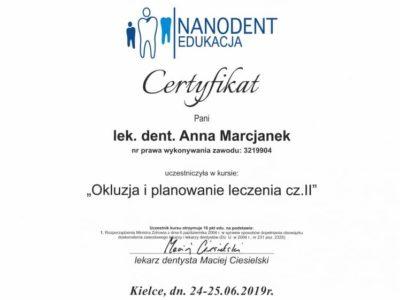 Dr Marcjanek certyfikat 17 - <span>lek. dent. Anna Marcjanek</span><br/>specjalizacja w dziedzinie protetyki stomatologicznej