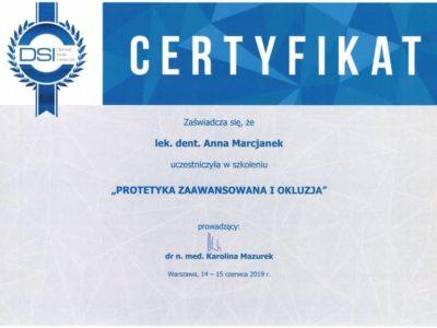 Dr Marcjanek certyfikat 19 - <span>lek. dent. Anna Marcjanek</span><br/>specjalizacja w dziedzinie protetyki stomatologicznej