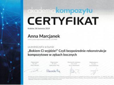 Dr Marcjanek certyfikat 4 - <span>lek. dent. Anna Marcjanek</span><br/>specjalizacja w dziedzinie protetyki stomatologicznej