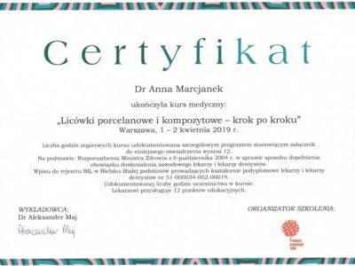 Dr Marcjanek certyfikat 5 - <span>lek. dent. Anna Marcjanek</span><br/>specjalizacja w dziedzinie protetyki stomatologicznej
