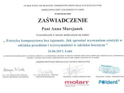 Dr Marcjanek certyfikat 6 - <span>lek. dent. Anna Marcjanek</span><br/>specjalizacja w dziedzinie protetyki stomatologicznej