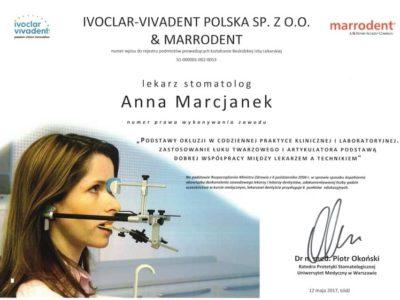 Dr Marcjanek certyfikat 7 - <span>lek. dent. Anna Marcjanek</span><br/>specjalizacja w dziedzinie protetyki stomatologicznej
