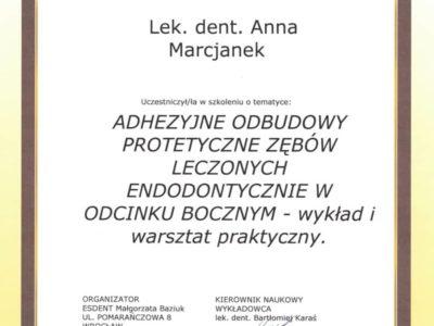 Dr Marcjanek certyfikat 8 - <span>lek. dent. Anna Marcjanek</span><br/>specjalizacja w dziedzinie protetyki stomatologicznej
